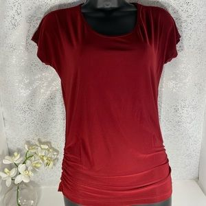 Red Shirt Sleeved Blouse - Size Small